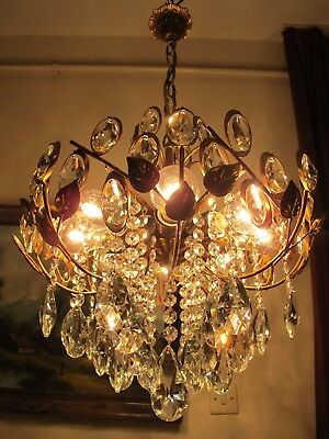 Antique Vnt. HUGE French Basket Style Crystal Chandelier Lamp 1960's 18 in RARE