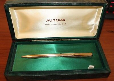 Vintage NOS AURORA Italy Ballpoint Pen SOLID GOLD 333 (8K) NEW in Box 1960s