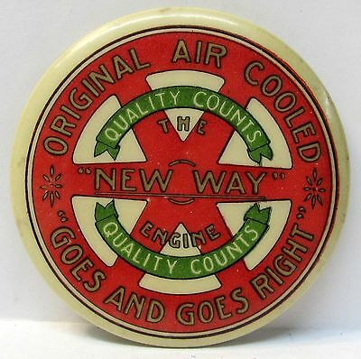 c.1905 New Air Cooled NEW WAY ENGINE farm advertising celluloid pocket mirror *