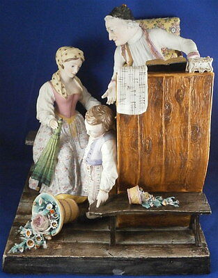 Antique Jean Gille Biscuit Porcelain Large Figurine Porcelaine Figure French