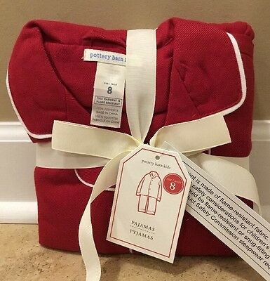 NEW Pottery Barn Kids Flannel Pajama Set Size 8 RED