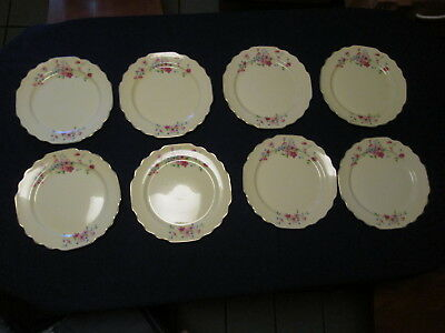 """Vintage W S George Lido Canarytone Pink Flowers Lot of 8 Dinner Plates 9.5"""" D"""