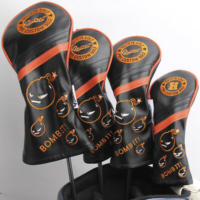 """BOMB IT!"" BLACK Premium PU Leather Head Covers - choose covers you want 1,3,5,H"