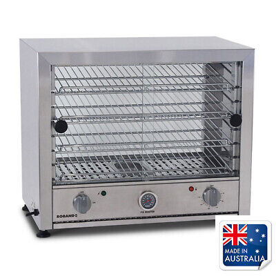 Hot Food Display Warmer 50 Pie, Curved Top Square Both Sides Glass, Roband PW50G