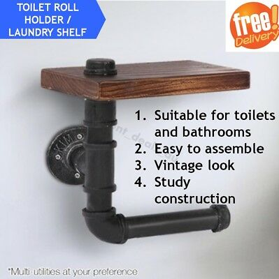 Toilet Paper Roll Holder Rustic Laundry Bathroom Stand Rack Floating Pipe Shelf