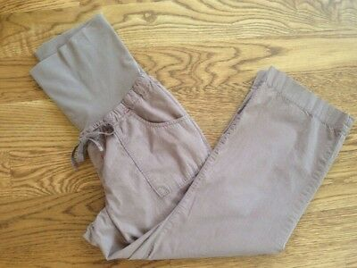 GAP MATERNITY size 10 brown cotton casual capri PANTS