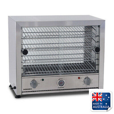 Hot Food Display Warmer 50 Pie, Curved Top Square Front Glass, Roband PW50