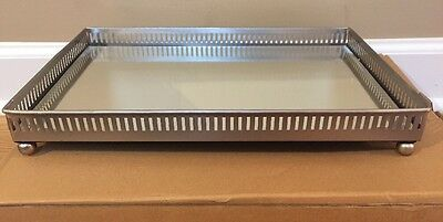 NEW Pottery Barn XL Mirrored Dresser-Top Tray SILVER *No Monogram