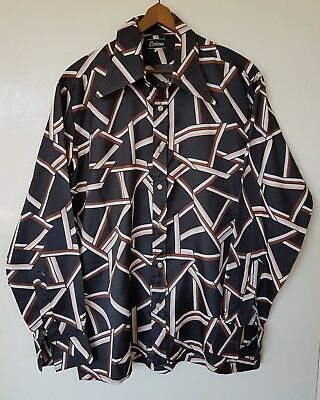 Mens Vintage 1970s Shirt~Wide Collar Button front Fitted Casual~ Size Large XL