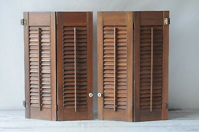 2 Pairs of Vintage Wood Shutters Farmhouse Salvage Brown Shutters