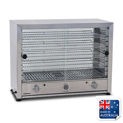 Hot Food Display Warmer 100 Pie, Curve Top Square Both Sides Glass Roband PW100G