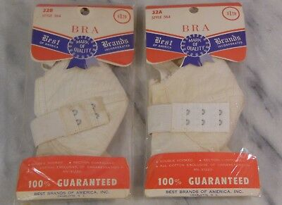2 Vintage New in Packages Bras 32A & 32B BEST OF AMERICA