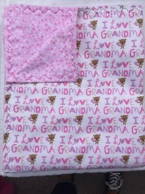 Hand Made I love Grandma, Girl Colors Flannel Blanket- Double Thickness