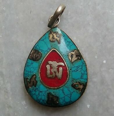 Antique Original Solid Turquoise With Silver Plated Handcrafted Nepali Pendant