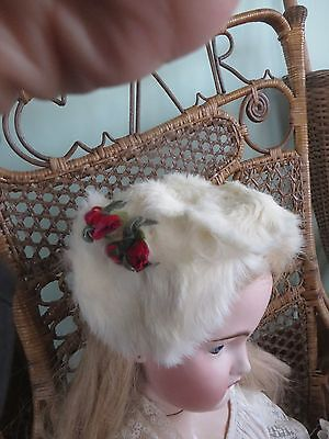 Vintage Child's Doll White, Authentic Rabbit Fur Hat Rosebud Trim ADORABLE!