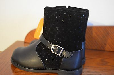 """NWT Gymboree """"Back to Blooms"""" girls black boots - toddler size 7"""