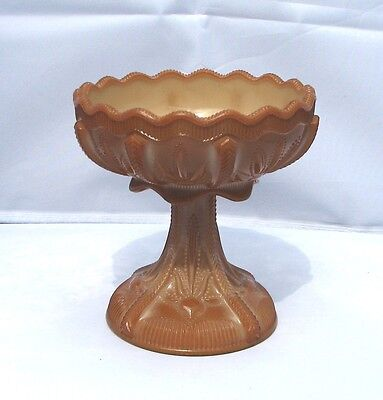 INDIANA TUMBLER GOBLET CO Greentown Glass Chocolate Cactus Pedesal Bowl Compote