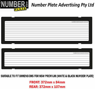 NSW Premium Number Plate Cover Clip On with pinstrip lines