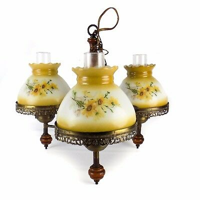 Sunflower Vintage Hanging Light Lamp Ceiling Chandelier Milk-Glass Globe Floral