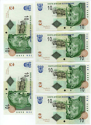 2005 SOUTH AFRICA 10 RAND PICK 128a RHINO (6 CONSECUTIVE NOTES) AUNC+