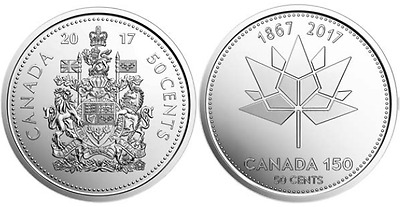 2017 Canada Two 50Cent Coins Coat Of Armsdesign Plus The Special Canada 150
