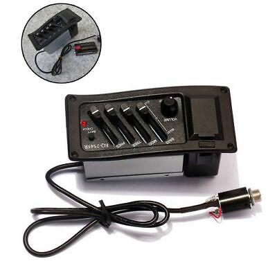 4 Bands Piezo Pickup EQ-7545R Acoustic Guitar Preamp Amplifier Equalizer Tuner L