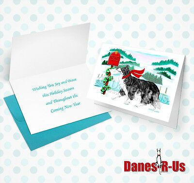 Border Collie Holiday Mail Dog Art Christmas Greeting Note Cards Set of 10