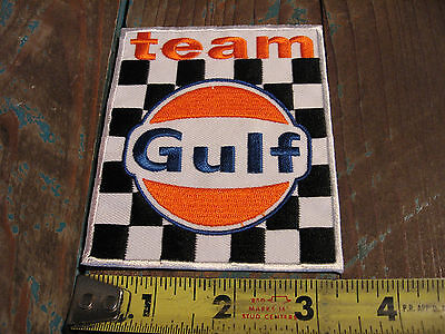 Vintage Style Team Gulf Racing Patch Gasoline Porsche Le Mans Alms Scca Indy Gas