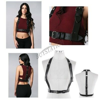 Women Adjustable Corset PU Leather Body Chest Harness Waist Strap Belts Cosplay