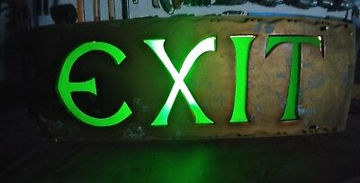 "Vtg 1927 Huge Lighted EXIT SIGN 9""×26"" ORPHEUM THEATER SEATTLE Orig Glass&Paint"