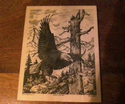 """Dave Maloney 1993 """"Royalty of the skies"""" Bald Eagle Hunting 8.5"""" X 11"""""""