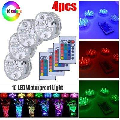 4xLED RGB Underwater Light Battery Operated Pond Submersible Swimming Pool Light