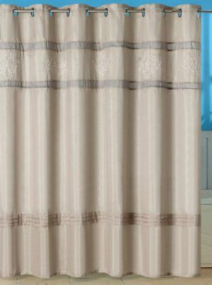 Lavish Home Radcliff Embroidered Shower Curtain with Gr