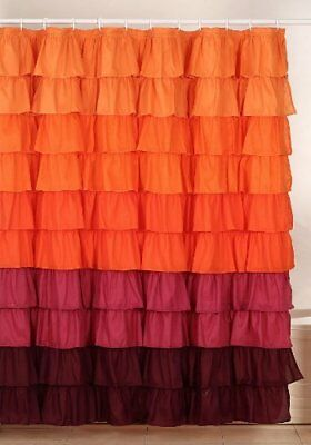 Lavish Home Harvest Ruffle Shower Curtain with Buttonho