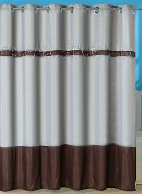 Lavish Home Claridge Embroidered Shower Curtain with Gr