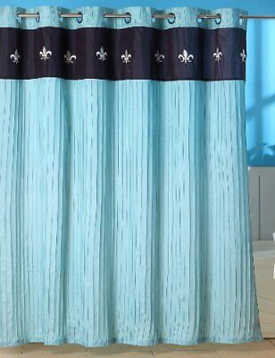 Lavish Home Meridian Embroidered Shower Curtain with Gr