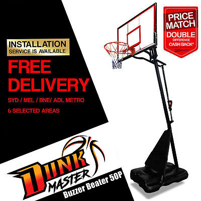 DunkMaster Portable Basketball System Ring Stand S024 + Spalding NBA + Pump