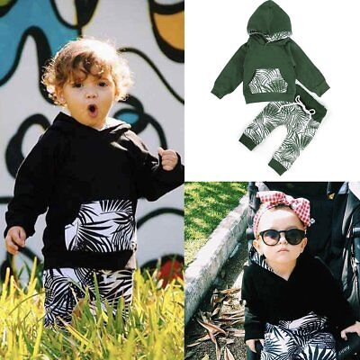 2PCS Baby Boys & Girl Hooded Tops Sweatshirt + Pants Clothes Outfit Clothing Set