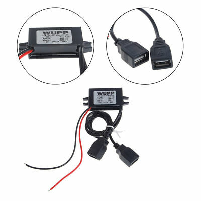 Car DC 12V to 5V 3A 15W Hard Wired Step Down Dual USB Charger For Dashcam Phone