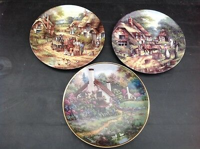 3 Collectors Plates - 2 Wedgwood Country Days + Franklin Mint Cozy Glen