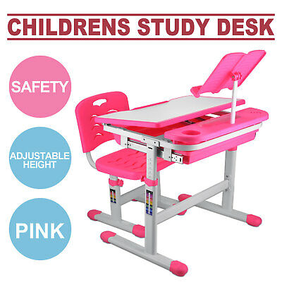 Kids Study Table And Chair ADJUSTABLE HEIGHT READING PAD PINK SAFE STURDY