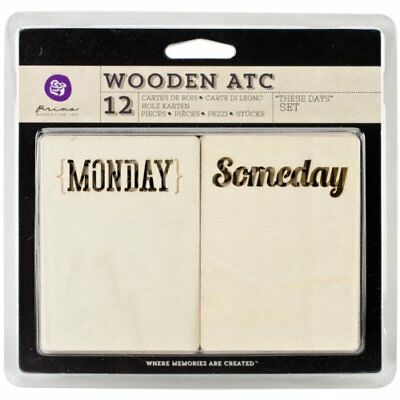 Prima Marketing Wooden ATC Cards, These Days, 12-Pack