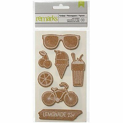 American Crafts 14-Piece Summer Adhesive Backed Cork Sh