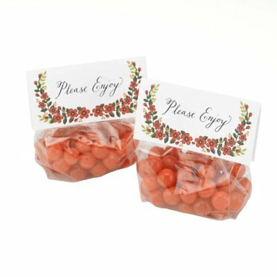 Hortense B Hewitt Floral Treat Toppers with Cello Bags,