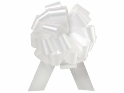 """WHITE Flora Satin 5.5"""" Pull Bows5.5"""" - 20 loops -100% P"""