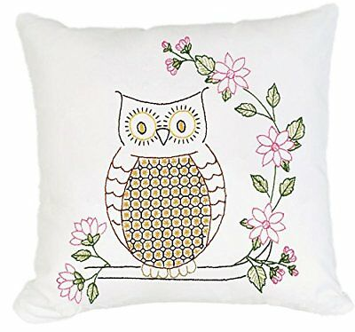 Jack Dempsey Stamped White Pillow Tops, 15-Inch by 15-I