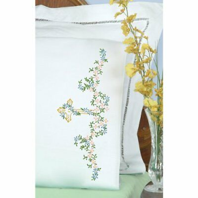 Jack Dempsey Stamped Pillowcases with White Perle Edge,