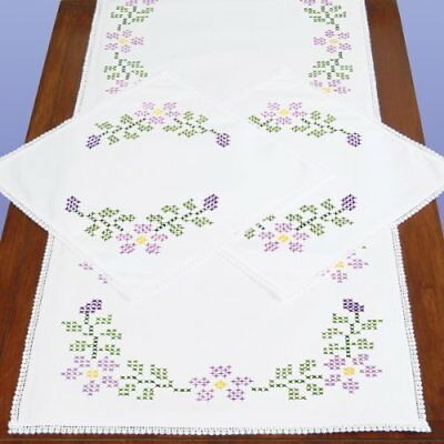 Jack Dempsey Stamped Dresser Scarf and Doilies Lace Edg