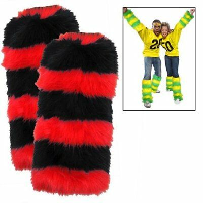 Fuzzy Leg Warmers 2 Pack - Red and Black