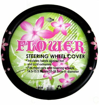 Simulated Leather Steering Wheel Cover with Embossed De